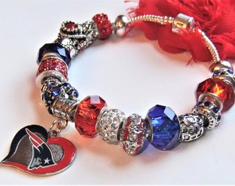 New England Patriots European Charm Bracelet in Blue and Red, Pro Football Bling, Patriots Jewelry FREE SHIPPING in U.S.