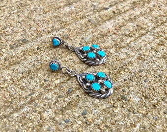 Native American sterling silver turquoise cluster vintage southwestern southwest boho bohemian post earrings