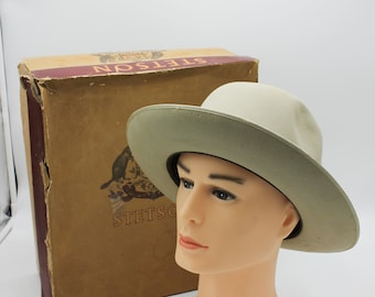 SOLD for 280 : IOB VINTAGE Stetson Open Road Hat 3X Beaver in Camel / Tan 7 3/8, 50's Rare, Felt