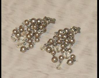 Vintage CRYSTAL and PEARL earrings Clip , Downton Abbey earrings