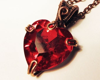 Red Crystal Glass Heart Pendant - Copper Wire-wrap Red Heart Gothic Pendant