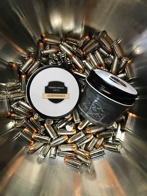 Gun - Gun Gifts - Gunpowder - Soy Candles Handmade - Novelty Gift - Gray Candle - Manly Decor - Container Candle - Gift For Men