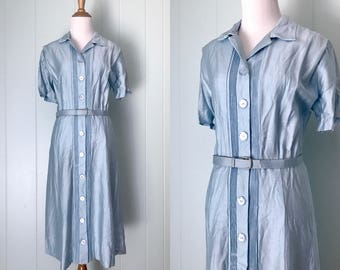 1960s Pat Lesser Light Pale Blue Silk Dress | 60s Button Down Shirtwaist Dress | Vintage Day Dress | Ladies Clothing XL Extra Large AS-IS