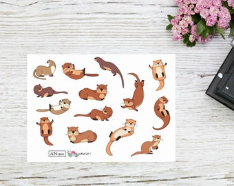 PLANNER STICKERS cute playful otter stickers AN 1201