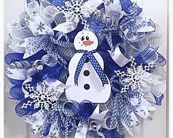 Snowman Snowflake Deco Mesh Wreath/Blue Snowman wreath/snowflake wreath/Christmas snowflake wreath/Christmas snowman wreath