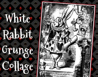 White Rabbit Grunge Collage - a Wonderland themed grunge style digi art stamp & 3rd in the series!