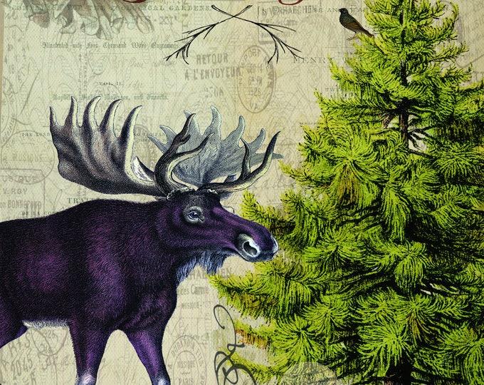 Vintage Woodland Christmas, Ephemera, Merry Christmas, Pinecone, Wall art, Scrapbooking, Craft Paper, Digital Art, Christmas Print, Moose