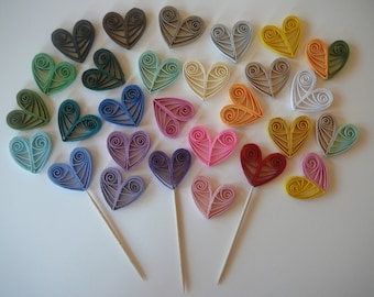 Paper Quilled Heart Cupcake Topper Wedding Party or Valentine's Day Table Decorations