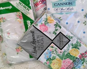 NOS Pillowcases - Your Choice - Florals - Roses - Eyelet - Unused Vintage Bedding Cannon Springmaid  Marlborough Meadowbrooke Springmai