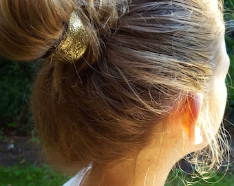 Soft leather Hair Tie, Gold Leather Hair Tie, Hair Accessories, Golden leather Hair Tie, Ponytail Holder, Perfect gift for College Student