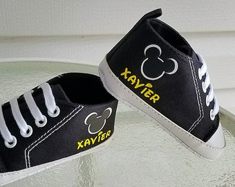 Black High Tops, Baby Mickey, Personalized Shoes, Infant Sizes, 3-18 Months