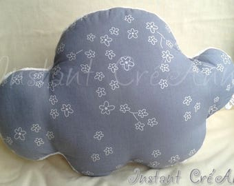 Cushion cloud gray with white flowers Liberty