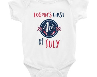 Custom name, 4th of July, Infant Bodysuit, snapsuit, any, baby, name, fourth of July, customize, red white and blue, independence day