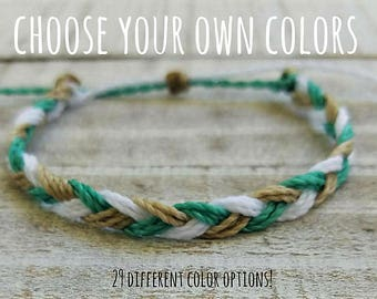 Braided Bracelet, Choose three colors, Beach Bracelet, Surfer Bracelet, Friendship Bracelet, Waterproof Bracelet, Braided Anklet