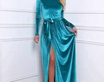 Electric Blue Velvet Bridesmaid Party Maxi Dress/ Round Neck Long Sleeves High Slit Waistband Sash