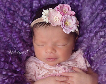 Organic Mulberry Flowers on Stretch Knit Headband for photo shoots, flower cluster, toddler pics, bebe foto,  by Lil Miss Sweet Pea