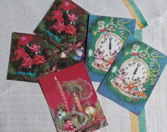 Happy new year cards, Vintage postcards, Winter holidays greeting cards, Photo postcards, Vintage Christmas photo cards, Blank postcards set
