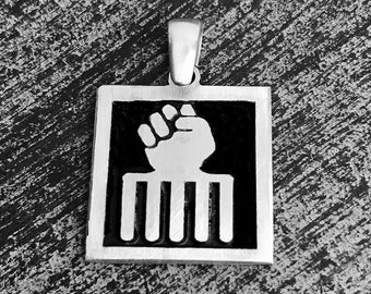 925 Sterling Silver Fist/hair Pick Charm/Pendant