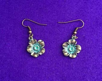 Verdigris jewelry / flower earrings
