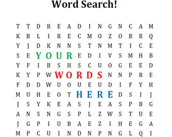 Fully Customized Word Search - Perfect for Birthday Parties and More!