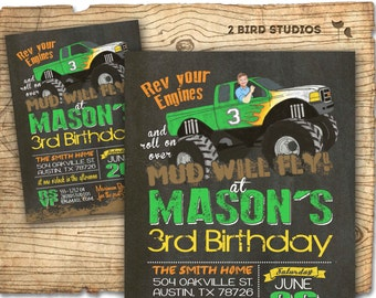 MONSTER Truck Invite - Monster Truck Birthday - GREEN Monster Truck Party -  Chalkboard DIY printable invitation for boys birthday party