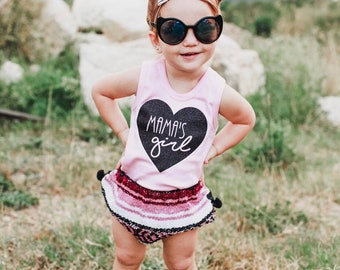 mama's girl pink girls tank top perfect for Mother's Day by sweet sprouts