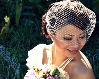 15 inch Bandeau Birdcage Veil with Crystals Scattered Throughout