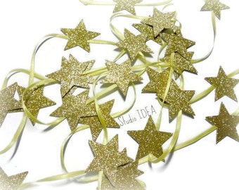 Glitter Gold Star Garland, Double-sided Star Garland on ribbon