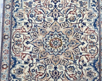 Beautiful Cream and Blue  Handmade Wool Persian Accent Rug
