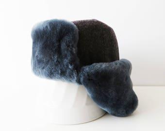 Sheep Fur Hat Soviet Vintage 80s Grey Ushanka Warm Winter Ear Flaps Trapper Hat Traditional Ushanka Russian Winter Hat Soviet Souvenir Small