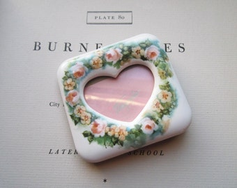 Vintage Shabby Chic Porcelain Picture Frame * Heart Shaped Frame,  Stocking Stuffers* Love and Romance * Peach Roses * Bedside * Desk *