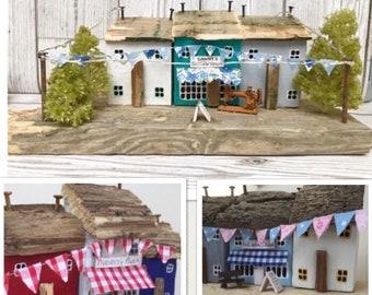 Personalised Gift Driftwood Art, Little Wooden houses, Shop Owner, Reclaimed Wood Art, Gift for Women, Easter Unique Gift Original Art