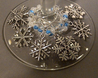 Let it Snow Wine Charm Set of 6 - Snowflake Charms with Blue and White Beads