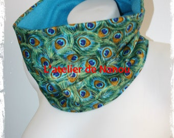 snood - adult reversible tube scarf / mixed teen peacock feathers