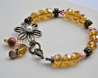 GOLD CRYSTAL FLOWER Clip Bracelet Antique Bronze Copper Pearl Charms Matching Necklace