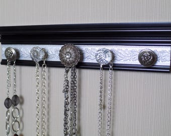 YOU CHOOSE 5, 7 or 9 KNOBS  Jewelry/necklace organizer. This black wall rack has silver embossed background and a stunning center knob. Gift
