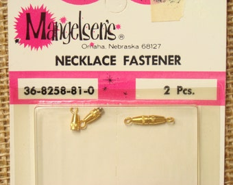 "Mangelsen's vintage goldtone barrel clasps - pair (2) - jewelry screw clasps - jewelry finding, craft supply - new old stock - 5/8"" (16mm)"