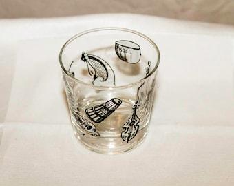 Vintage Libbey Musical Instruments Rocks Glass, Barware, Libbey Glassware, Juice Glass