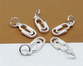 8 Sterling Silver Paper Clip Charms, 925 Silver Paper Clip Charms - YD1291