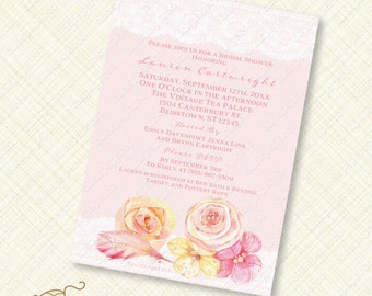 Blush pink Lace Watercolor Flower Bridal Shower Invitation Printable feather wedding floral digital download invite jpeg new baby girl pdf