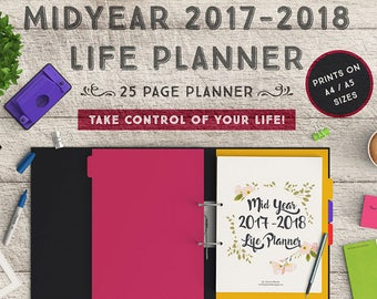 Ultimate Life Binder, Printable Planner, Life Planner, Mid Year 2017-2018 Planner, Budget, Blog Planner, Habit Tracker, Finances, A4, A5