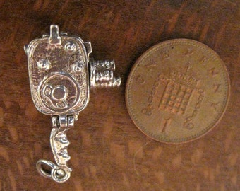 Chim Sterling Silver Movie Camera Charm, With Bathing Beauty inside.