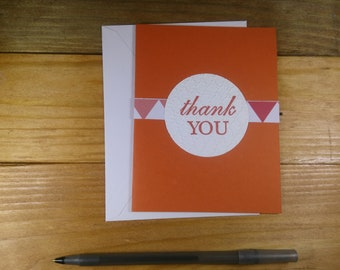 Thank You Card Blank Inside, Embossed Circle Thank You Card, Orange Thank You Card Blank Inside