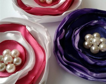 Ranunculus, (4), Fabric flowers, purple flowers, pink flowers, sew on flowers, layered flowers, flowers for crafts, wedding decor, diy.