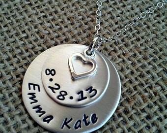 Mom Necklace, Grandma Necklace, New Mom Necklace - Custom Name Date Necklace - New Grandma Necklace Stamped Evermore