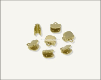 10 pc.+  7mm Crimp Ends for Flat Leather Cords - Raw Brass