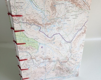 English Lake District map journal / travel notebook / coptic stitch blank book 8 x 6 inches