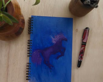 Hand Painted Cover; Spiral Journal Notebook Sketchbook; Premium Unlined Paper for Writing, Sketching, Doodling; Horse Silhouette