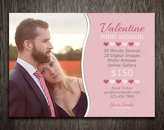 Valentine Mini Session - Valentine's Day Photoshop Marketing Template - Photography Marketing PSD Template MT059