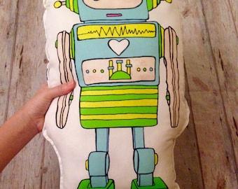Robot plush kit, diy kits, doll making kit, pillow panel, robot pattern, robot panel, robot fabric, doll making kit, robot plush pattern